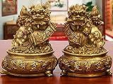 LHMYHHH Gran tamaño Riqueza porsperity latón par de fu foo Perros guardián león con estatuas de Cuenca del Tesoro Mejor congratulatorio