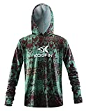 Performance Fishing Hoodie Long Sleeve Hooded Sunblock Shirt Outdoor UPF50 Dry Fit Quick-Dry, Green, Large