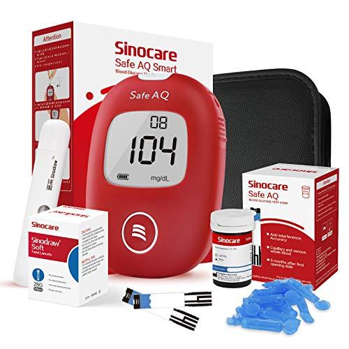 Sinocare Medidor de Glucosa en Sangre, Kit de Prueba de Glucosa en Sangre, 25 x Tiras de Prueba de Glucosa en Sangre y Dispositivo de Punción - mg/dL (Safe AQ Smart)