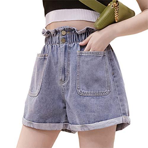GCX Summer New Denim Shorts Female Hot Pants hoge taille was dun Koreaanse Grote Maat Jeans wijde pijpen broek Sexy (Color : Blue, Size : XXXXL)