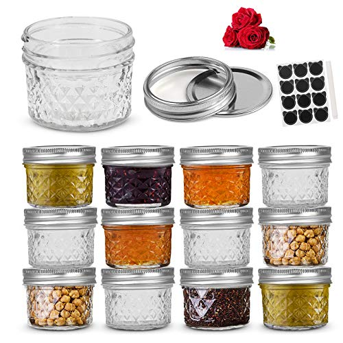 LovoIn 4oz Regular Mouth Mini Mason Jars with Lids and Bands - Set of 12, Quilted Crystal Glass Canning Jars Ideal for Food Storage, Jam, Body Butters, Jelly, Wedding Favors