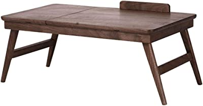 Bed Folding Laptop Table Black Walnut Solid Wood Small Coffee Table Kang Table Bay Window Table Portable Lazy Table Small Coffee Table (Color : Brown, Size : 65 * 35 * 28cm)