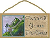 Blackwater Trading Wash Your Palms Tropical Palm Tree Beach Ocean Bath Wall Decor Sign Plaque 5'X10'