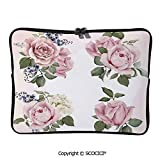 YOLIYANA Vintage Country Style Floral Decor Roses Wreath Bouquet Wildflowers Laptop Sleeve Case Water-Resistant Protective Cover Portable Computer Carrying Bag Pouch for 17 inch/17.3 inch Laptop