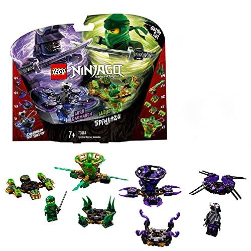 LEGO Ninjago Spinjitzu Lloyd vs. Garmadon - Peonzas de ninjas de juguete, color verde y morada (70664)