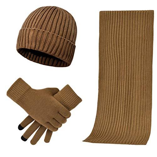 DQANIU Strickmütze, 3PCs Unisex Strickschal Beanie Mütze und Handschuhe Set Stretch Mütze Schal Mitten Set