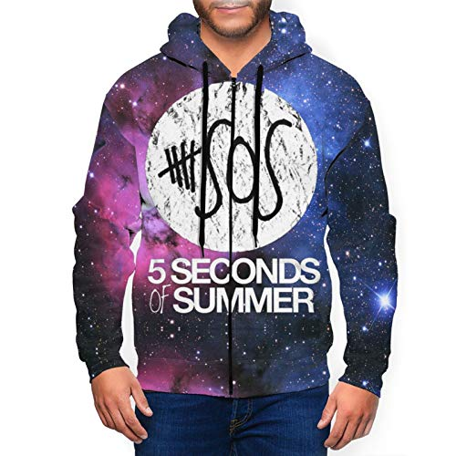5sos-Summer Fashion Men's Hoodie Sweater Full Zip Hat Pocket Pullover Sweatshirt Jacket