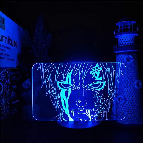 Lámpara de noche con diseño de anime, 3D, LED, cambio de color, decoración para el hogar, regalo regulable, lámpara decorativa con mando a distancia, 16 colores a distancia