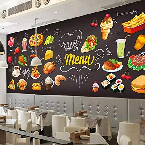 Fotobehang 3D,Hamburger Restaurant Coffee Shop Theehuis Fast Food hot Pot Eetkamer Muur, Behang 280 cm (B) x 180 cm (H)