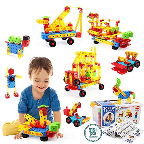 VATOS Konstruktionsspielzeug STEM Spielzeug Bauen 316 Stück Kreatives Baukasten Lernspielzeug Pädagogische...