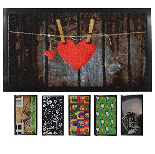 LucaHome - Felpudo Orlando de Goma y PVC Antideslizante Muy Absorbente, Felpudo Corazón 40x60cm Goma y PVC, Felpudo para Exterior e Interior