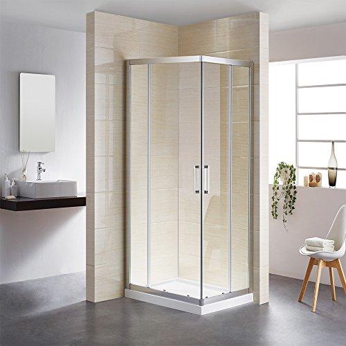Doble puerta corredera con sistema de ruedas, cabina de ducha de 100 x 100 cm, mampara de ducha, mampara de ducha, cristal templado de 6 mm, altura: 195 cm.