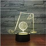 WDDZSD Palos De Golf Lámpara De Mesa Visual 3D Luz De Noche Acrílica Led 7 Lámpara De Cambio De Color Decoración De Oficina para Dormitorio para Regalo De Hombre De Negocios