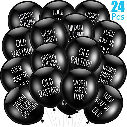 24 Pieces Abusive Balloons Funny Abusive Birthday Party Balloons Cute Offensive Balloons Rude Latex Birthday Balloons for Men