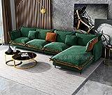 divano soggiorno mobilia legno massiccio stoffa cachemire lavabile combinazione elasticità lussuoso nordico moderno semplice scienze e tecnologia ingegneria/verde/come mostrato