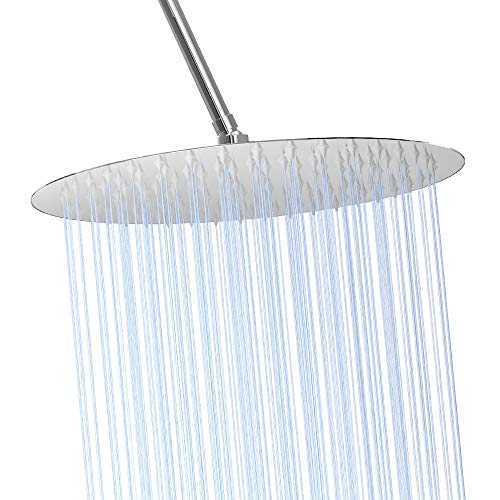 """High Pressure Shower Head, Ultra-Thin Design-Best Pressure Boosting Rain Showerhead, Awesome Shower Experience Even At Low Water Flow, High Flow Stainless Steel Rainfall Shower Heads (12"""", Round)"""