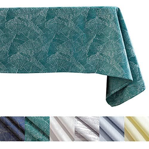 KINLO Mantel de 140 x 180 cm, color verde, efecto loto, impermeable, estampado de hojas, protección contra manchas, fácil de limpiar, lavable, repele la suciedad