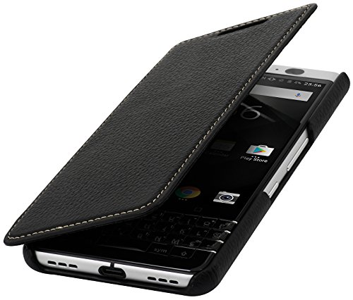 StilGut Book Hülle entwickelt für BlackBerry KEYone Hülle aus Leder zum Klappen, Klapphülle, Handyhülle, Lederhülle, dünn - Schwarz