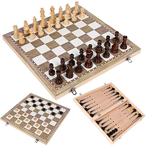 3 in 1 Folding Wooden Chess Set Board Game Checkers,3 In 1 Travel Chess Set,Wooden Chess Checkers Backgammon Game Travel Draughts Set-for Kids and Adult, Foldable and Portable Game Board for Travel