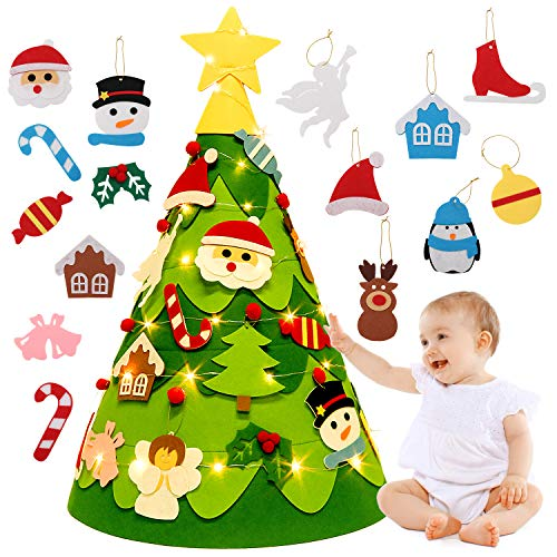 Outgeek 3D Felt Christmas Tree, 2.3Ft DIY Xmas Tree with 28PCS Detachable Ornaments and Light String Xmas Gifts for Kids Toddler Christmas Decoration