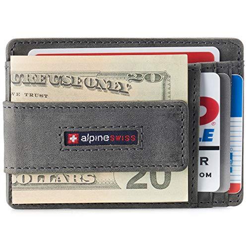 Alpine Swiss Harper Mens RFID Slim Front Pocket Wallet Magnetic Money Clip ID Card Holder Leather Gray