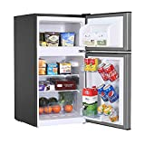 Mini Fridge with Freezer, 3.2 Cu.Ft Mini Refrigerator with 2 Doors, Compact Small Refrigerator for Dorm, Bedroom, Office, Energy Saving, 37 dB Low Noise, Stainless Steel