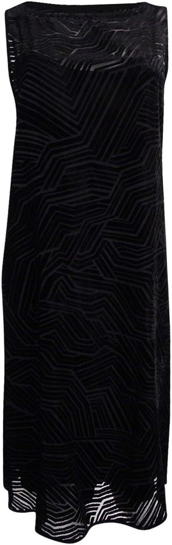 Alfani Womens Plus Velvet Illusion Casual Dress Black 18W