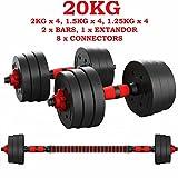 ShirazO UK - Mancuernas ajustables 2 en 1 de 20 kg, pesas para gimnasio en casa,...