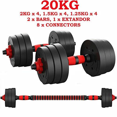ShirazO UK - Manubrio 2 in 1 regolabile da 20 kg, peso per la casa, palestra, esercizio fitness, manubri rimovibili per il fitness, con asta di collegamento manubrio