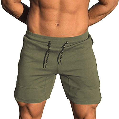 EVERWORTH Men's Solid Gym Workout Shorts Bodybuilding Running Fitted Training Jogging Short Pants with Zipper Pocket Green XL