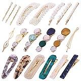 Lazz1on 20 Piezas Clips de Pelo Moda Horquilla de Acrílico Clip Perla Artificiales Decorativos Cabello Pasadores para Mujer y Niña