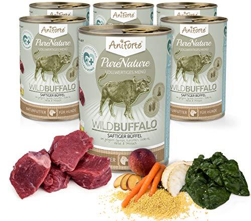AniForte Natürliches Nassfutter für Hunde - WildBuffalo Frischer Büffel mit Spinat - 6 x 400g - Futter hoher Fleisch-Anteil, Hundefutter für alle Hunderassen, glutenfrei, Ohne künstliche Zusätze
