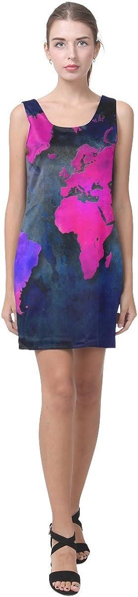 JC-Dress Sleeveless Dress World Map Sexy Party Dress
