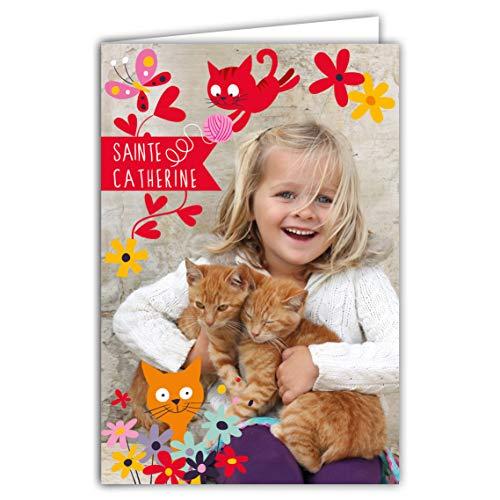 68-1094-A - Tarjeta de felicitación para fiesta de Santa Catherine (25 de Noviembre pequeña, chica, chica, gatitos, animales de compañía, animales de compañía, flores y mariposas, bonito mensaje rojo