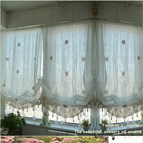 YOUSA Tie-Up Window Curtain Cutwork Crochet Embroidered Curtain 58''W x 69''L - Cream White