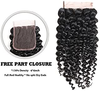 ISEE Mongolian Afro Kinky Curly Hair Closure Virgin Human Curly Hair 4x4 Lace Closure Free Part Hand Tied (16inch Closure)