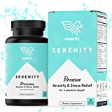 Serenity Anxiety Relief Supplement, 1000mg+ Ashwagandha Herbal Blend with B12, Rhodiola, L-Theanine, 5-HTP for Stress & Depression Relief, Natural Calm and Mood Boost, No Niacin Flush, 60 Veg Caps