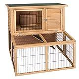 ELIGHTRY Cage à Lapin Clapier en Bois Cage Cabane Abri pour Chat Hamster Chaton Rongeur Spacieux 100x91x98,5cm