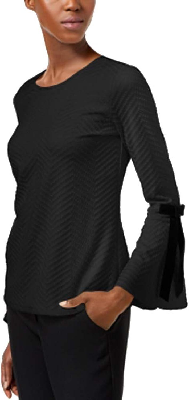 CeCe Women's Textured Ribbon BellSleeve Blouse