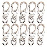 Bytiyar 10 PCS 1.65 inch Small Metal Clasps Spring Swivel Snap Hooks Carabiner Clips with 8mm Rotating D-Ring Paracord Buckles Keychain Accessories Tool Nickel Silver