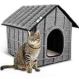 PUPPY KITTY Maison pour Chat Extérieur, Hiver Chat Cabane Niche, 52 x 42.5 x 42 cm, Facile à Laver, Pliable avec Coussin Amovible Doux et Chaud pour Chat Chien Lapin Chiot