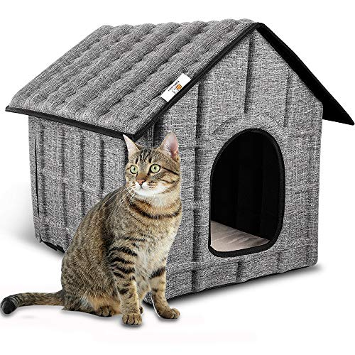 PUPPY KITTY Cuccia per Gatto, Casetta per Gatti per Esterni con Doppio Ingresso, Casa per Gatti all'Aperto, Cuccia da Esterno Pieghevole, con Copertura Smontabile e Cuscinetto