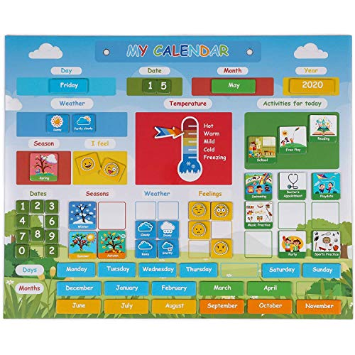 Simply Magic Kids Calendar - My First Daily Magnetic Calendar for Kids - Amazing Preschool Learning Toys for Toddlers - Preschool Classroom Calendar for Fridge or Wall - Weather Chart Feelings Days