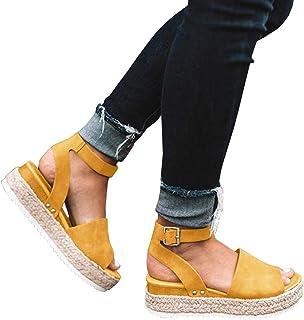 035d6542c714af Ermonn Women s Platform Espadrilles Ankle Strap Flatform Studded Open Toe  Summer Wedge Sandals
