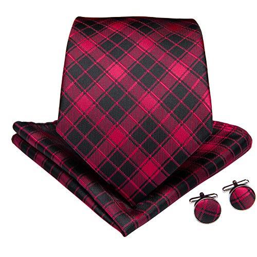 WOXHY Cravate Homme Ensemble de Cravate de fête de Mariage d'affaires à Carreaux Brun Rouge Cravate en Soie Bouton de Manchette Hanky