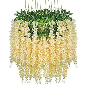 Lmeison 24 Pack 3.6 Feet Artificial Wisteria Flowers, Fake Wisteria Vine Ratta Hanging Garland