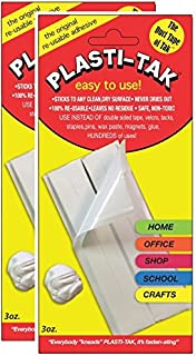 "Plasti-Tak - The Original Reusable Adhesive Putty - ""The Duck Tape of Tak"" - Never Dries Out, Even After Hundreds of Uses - Safe to Use on Paint, Wood, Plastic, Mirrors & Glass (2 Pack)"
