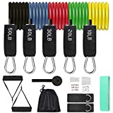 12 Pack Resistance Bands Set Workout Bands, 5 Stackable Up to 150 lbs Exercise Bands 1 Loop Resistance Bands 2 Core Sliders – Door Anchor Handles Ankle Straps Carry Bag