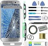 Kit de réparation d'écran ACENIX® pour Samsung Galaxy S7 Edge Argenté + 2 mm de ruban adhésif et outils d'ouverture