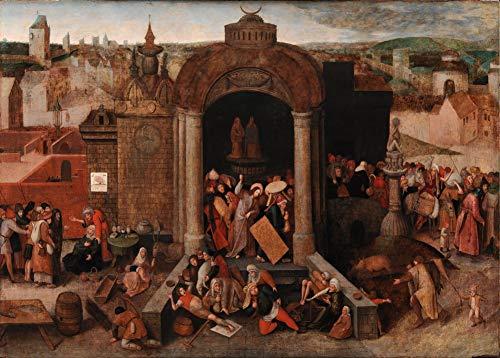 Pieter Bruegel the Elder 'Christus drijft de handelaren uit de tempel', 1559, 250gsm Zacht-Satijn Laagglans Reproductie A3 Poster
